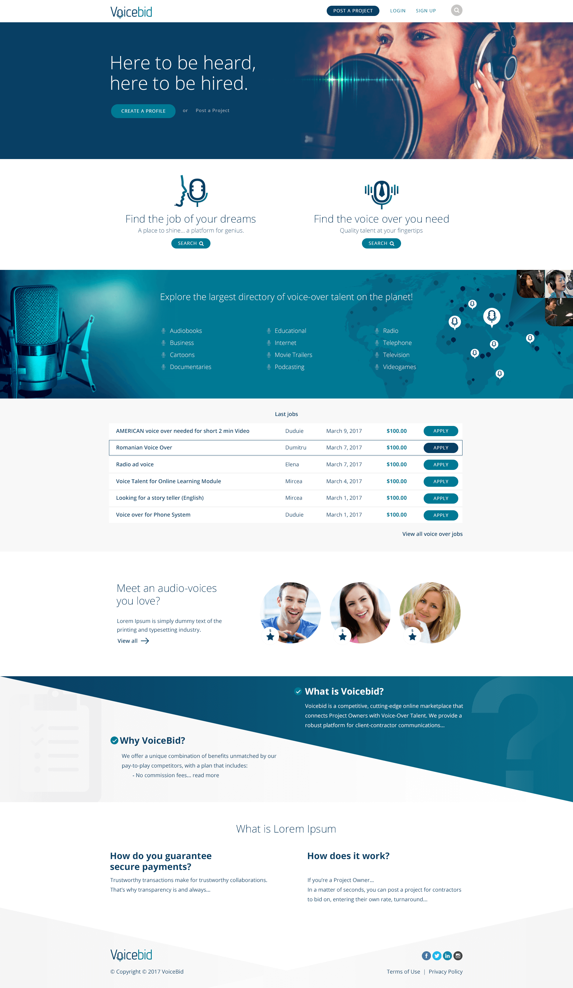 VoiceBid Home Page